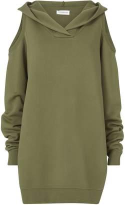 Faith Connexion Cold Shoulder Hooded Sweatshirt Dress