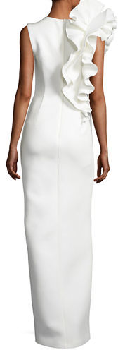 Jovani Sleeveless Ruffle-Trim Crepe Column Gown