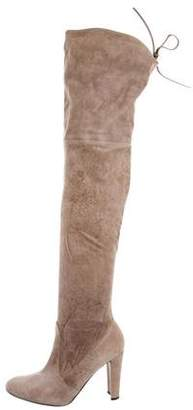 Stuart Weitzman Leather Platform Ankle Boots Suede Over-The-Knee Boots