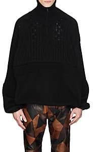 Balenciaga Men's Mixed-Knit Wool-Blend Oversized Sweater - Black
