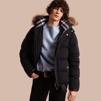 Burberry Down-filled Cashmere Jacket with Detachable Fur Trim $2,495 thestylecure.com