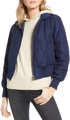 Treasure & Bond Satin Crop Puffer Jacket