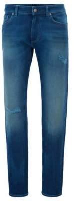 BOSS Straight-leg jeans in salt-and-pepper stretch denim