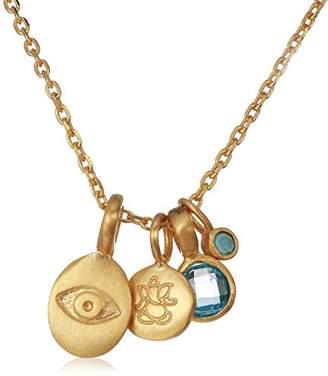 Satya Jewelry Women's Topaz Gold Eye & Ganesha Charm Pendant Necklace 18-Inch