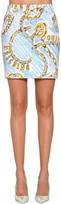 Moschino Printed Cotton Denim Mini Skirt