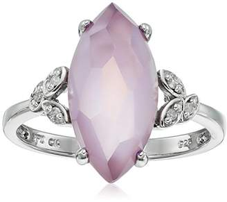 Mother of Pearl Sterling Pink Amethyst Over Pink Mother-Of-Pearl Marquise Doublet Leaves Diamond Ring