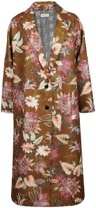 Black Coral Floral Coat