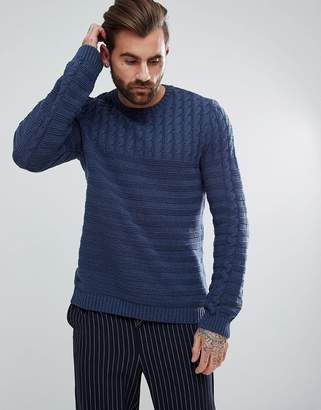 Asos Relaxed Fit Cable Knit Sweater In Navy