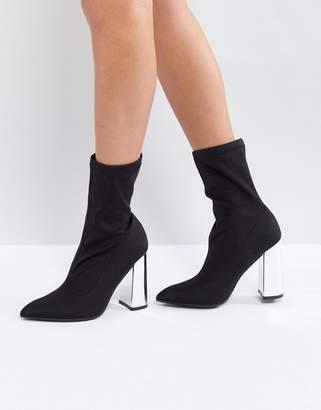 Public Desire Wayward Metallic Heel Ankle Boots