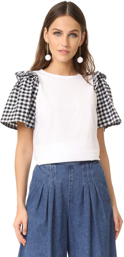 Clu Clu Ruffle Sleeve Mix Media Top