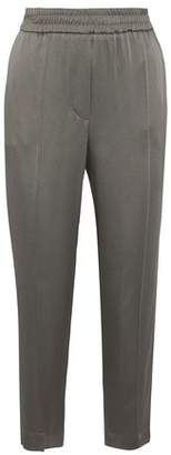 Brunello Cucinelli Cropped Striped Satin Tapered Pants