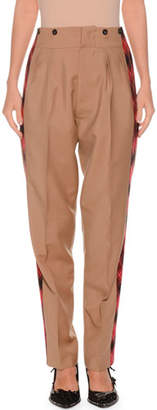 No.21 No. 21 Pleated Tapered-Leg Mohair-Blend Trousers w/ Side Stripes