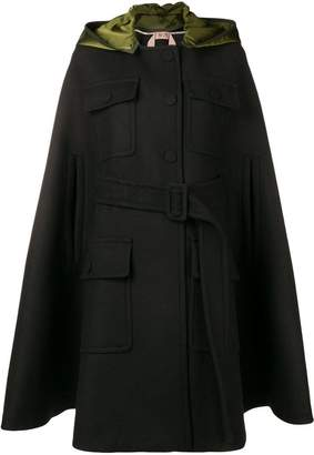 No.21 hooded cape coat