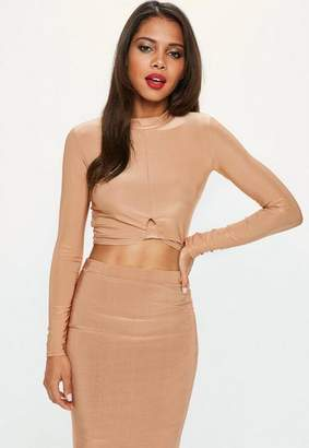 Missguided Camel Knot Front Slinky Crop Top