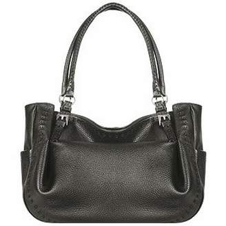 Fontanelli Black Stitched Soft Leather Tote