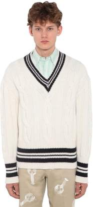 Thom Browne Wool Cable Knit Sweater W/stripes