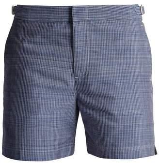 Orlebar Brown Chambray Striped Mid Length Swim Shorts - Mens - Navy