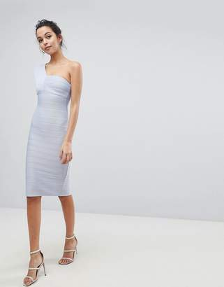 Asos Design One Shoulder Bandage Midi Bodycon Dress
