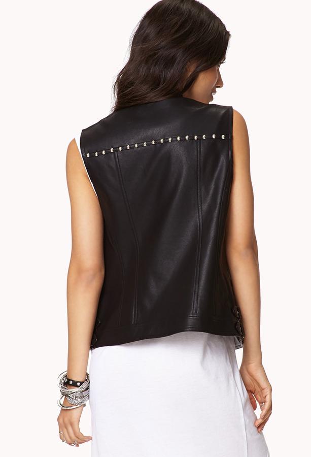 Forever 21 Edgy Studded Moto Vest