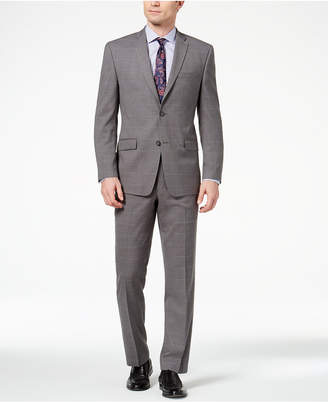 Andrew Marc Men's Classic-Fit Stretch Medium Gray Windowpane Suit