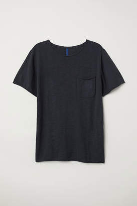 H&M Fine-knit Cotton T-shirt - Black