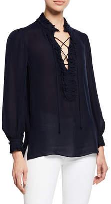 Kobi Halperin Marlie Lace-Up Long-Sleeve Blouse