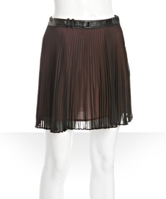 BCBGeneration black pleated chiffon leather belt mini skirt