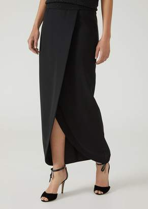 Emporio Armani Long Wraparound Cady Skirt With Central Split