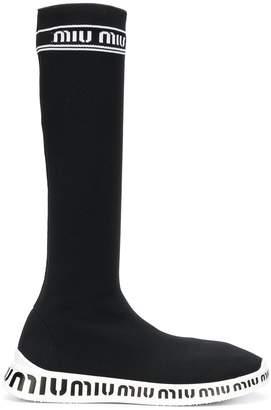 Miu Miu knit slip-on boots
