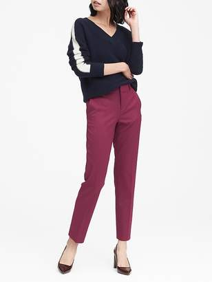 Banana Republic Petite Ryan Slim Straight-Fit Machine-Washable Herringbone Pant