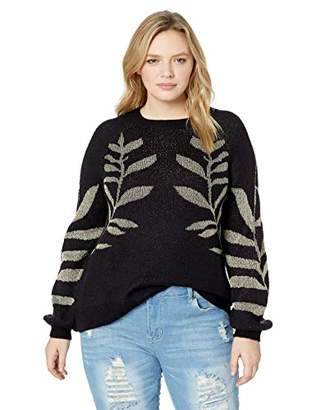 Lucky Brand Women's Plus Size Metallic Leaf Pullover Sweater
