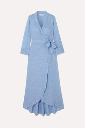 Ganni Printed Georgette Wrap Midi Dress - Light blue