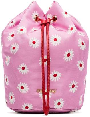 Miu Miu pink, red and white daisy print drawstring pouch