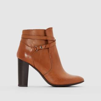 La Redoute Collections Heeled Leather Ankle Boots