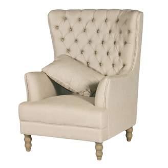BEIGE One World Oak Wing Chair