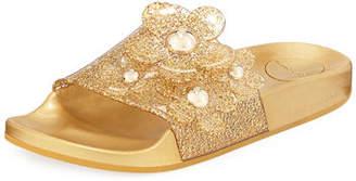 Marc Jacobs Daisy Pave Aqua Pool Slide Sandals