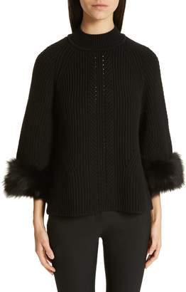 Fendi Genuine Fox Fur Cuff Cashmere Sweater