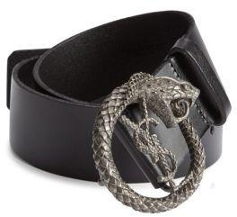 Saint Laurent Nero Calf Leather Belt $395 thestylecure.com
