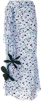 Marni tie gathered skirt with floral details