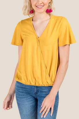 francesca's Jackie Basic Surplus Top - Marigold