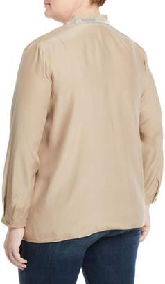 Lafayette 148 New York Adri Jeweled V-Neck Silk Blouse, Plus Size
