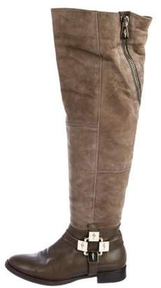 Cesare Paciotti Leather Round-Toe Over-The-Knee Boots Olive Leather Round-Toe Over-The-Knee Boots