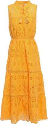 Kate Spade Tassel-trimmed Broderie Anglaise Cotton Midi Dress
