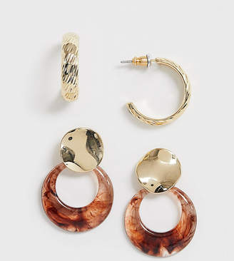 Reclaimed Vintage inspired earring pack with gold and tort hoop