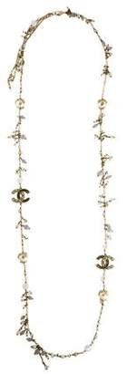Chanel Faux Pearl & CC Beaded Strand Necklace