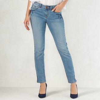 Women's LC Lauren Conrad Embroidered Skinny Jeans $56 thestylecure.com