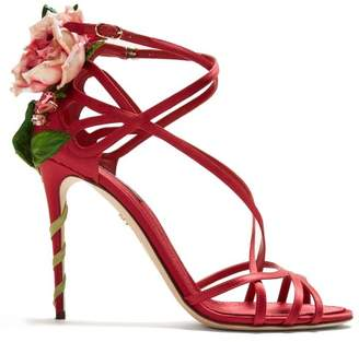 Dolce & Gabbana Keira Rose Applique Satin Stiletto Sandals - Womens - Red