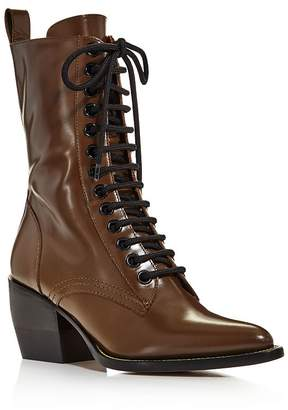 Chloé Women's Rylee Pointed Toe Leather Mid-Heel Boots