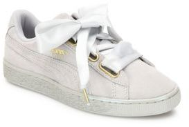 PUMA Basket Heart Suedeand Satin Sneakers $80 thestylecure.com