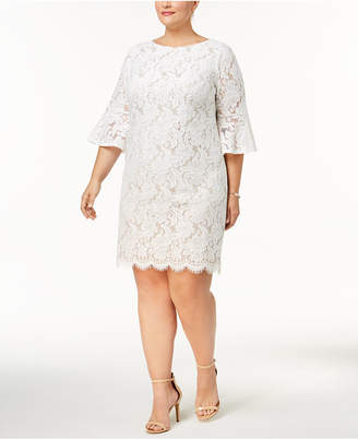 Jessica Howard Plus Size Lace Bell-Sleeve Sheath Dress